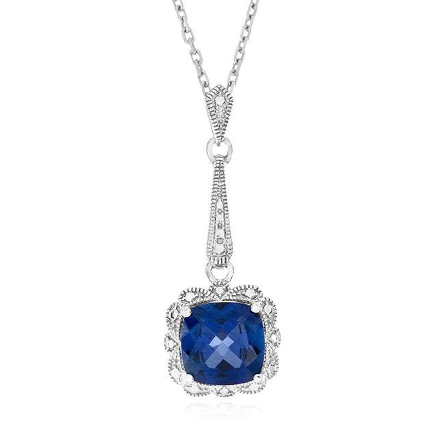 1.90 Carat Blue Sapphire Pendant in Sterling Silver with Chain