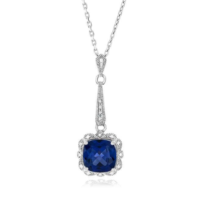 1.90 Carat Blue Sapphire & Diamond Accents Pendant in Sterling Silver with Chain