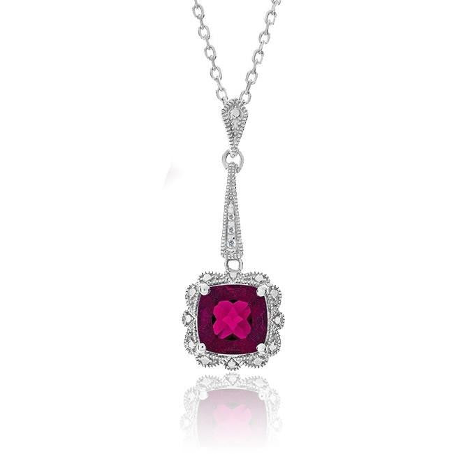 1.80 Carat Ruby & Diamond Pendant in Sterling Silver with Chain