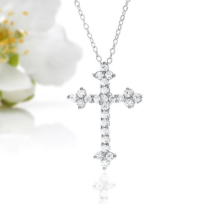 "1.00 Carat White Sapphire Cross Pendant in Sterling Silver with 18"" Chain"