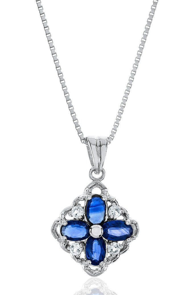 "1.60 Carat Genuine Blue Sapphire & Created White Sapphire Flower Pendant in Sterling Silver with 18"" Chain"