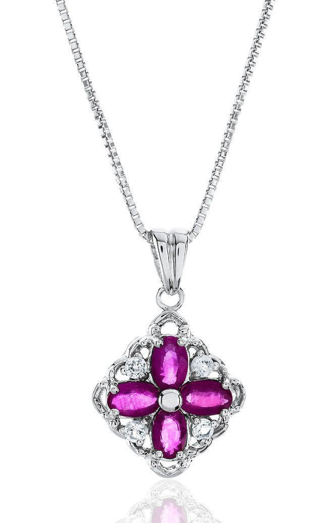 "1.40 Carat Genuine Ruby & Created White Sapphire Flower Pendant in Sterling Silver with 18"" Chain"