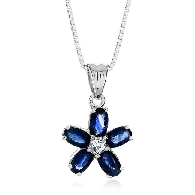 "1.85 Carat Genuine Blue Sapphire & Created White Sapphire Flower Pendant in Sterling Silver with 18"" Chain"