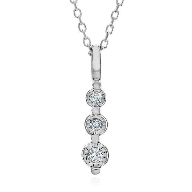 0.10 Carat 3-Stone Diamond Pendant in Sterling Silver with Chain