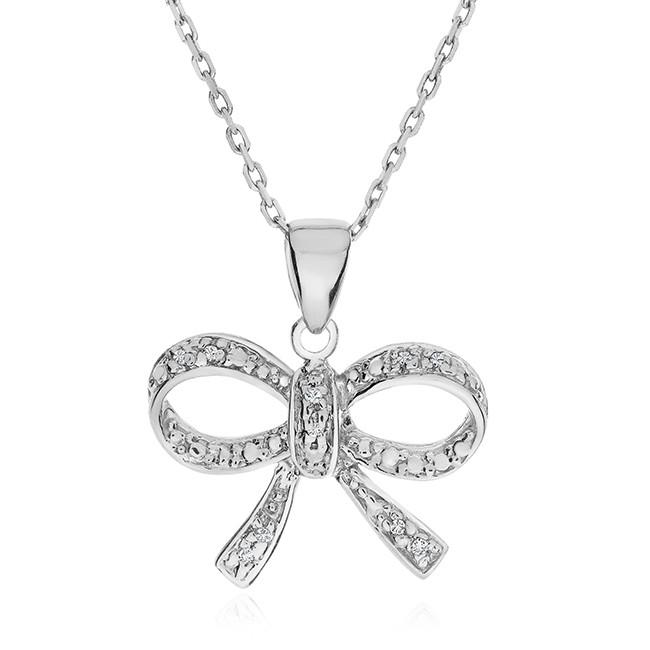 "Diamond Bow Pendant in Sterling Silver with 18"" Chain"