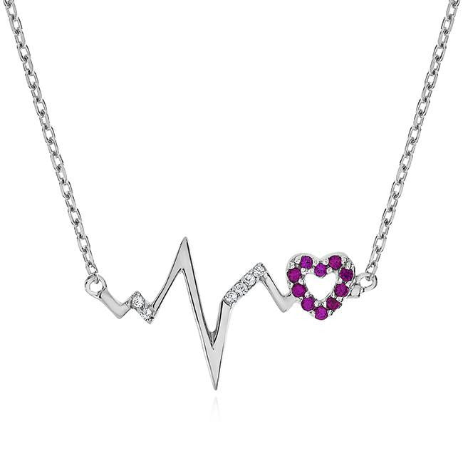Ruby & White Sapphire Heartbeart Necklace in Sterling Silver - 18