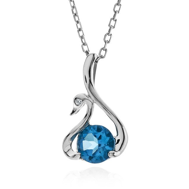 1.05 Carat Genuine Blue Topaz Swan Pendant in Sterling Silver with Chain