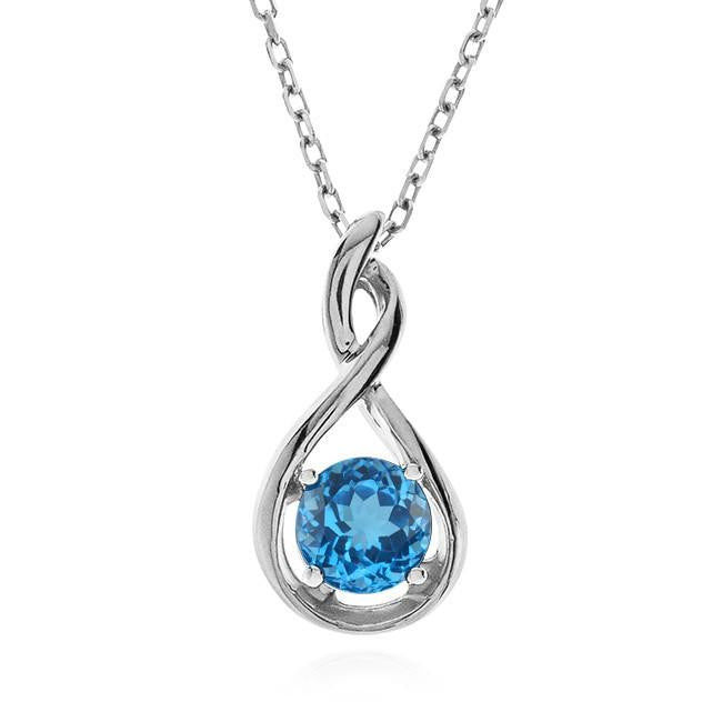 1.00 Carat Blue Topaz Pendant in Sterling Silver with Chain
