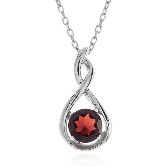 1.00 Carat Garnet Pendant in Sterling Silver with Chain