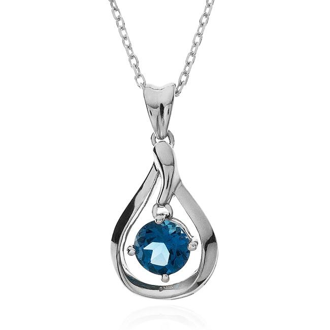 1.00 Carat Blue Topaz Dangle Pendant in Sterling Silver with Chain