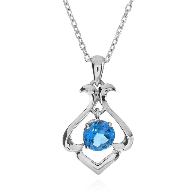 1.05 Carat Blue Topaz Pendant in Sterling Silver with Chain