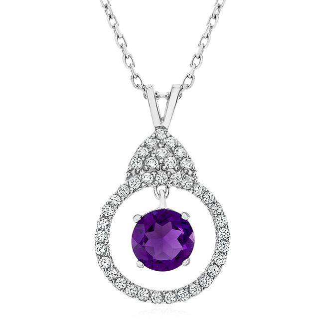 1.00 Carat Dancing Amethyst and White Sapphire Necklace in Sterling Silver with Chain