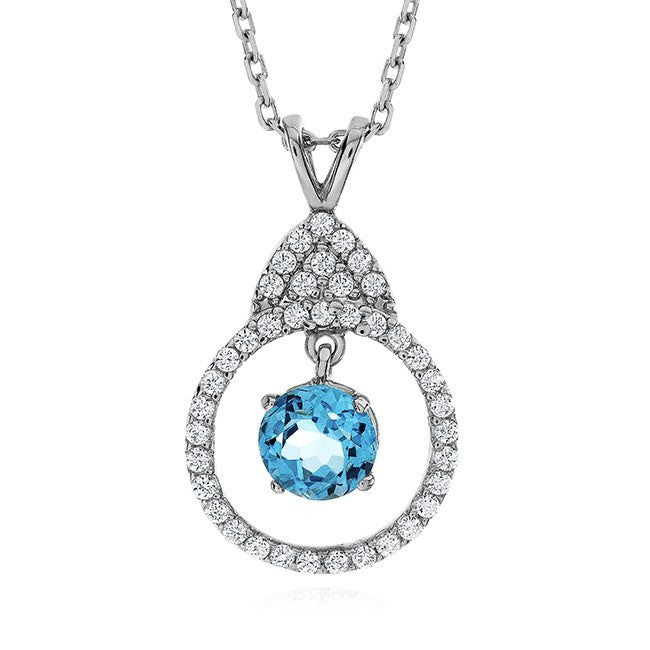 1.00 Carat Blue Topaz and White Sapphire Necklace in Sterling Silver with Chain