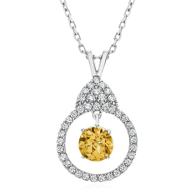 1.00 Carat Dancing Citrine and White Sapphire Necklace in Sterling Silver with Chain - 18""