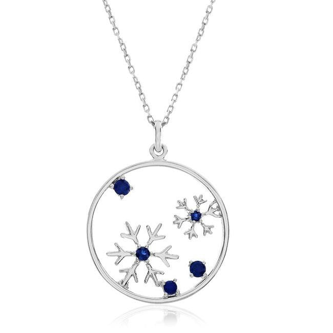 1/2 Carat Blue Sapphire Snowflakes Pendant in Sterling Silver with Chain