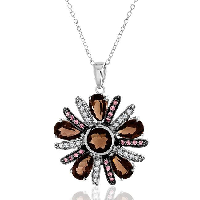 "6.66 Carat Genuine Smoky Quartz & Cubic Zirconia Pendant in Sterling Silver with 18"" Chain"