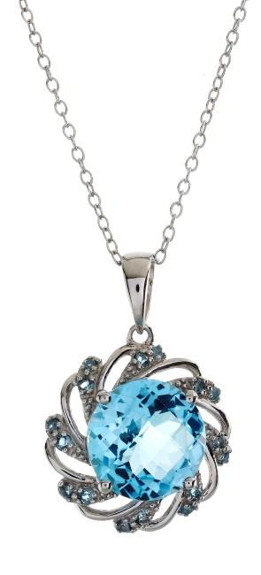 "4.55 Carat Genuine Blue Topaz Circle Pendant in Sterling Silver with 18"" Chain"