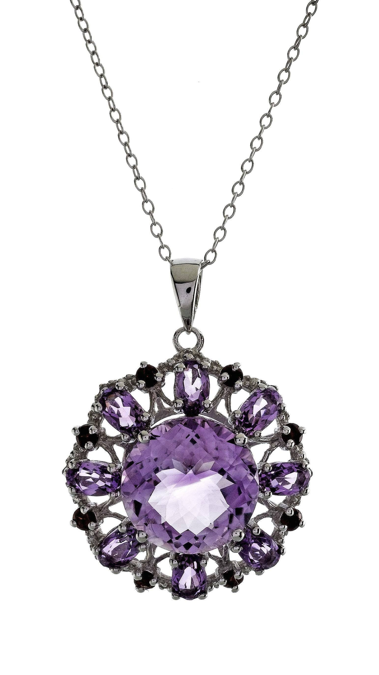 "7.75 Carat Genuine Pink Amethyst Pendant in Sterling Silver with 18"" Chain"