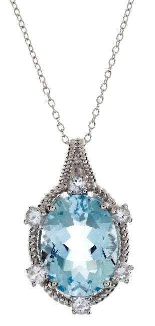 "10.55 Carat Genuine Blue & White Topaz Pendant in Sterling Silver with 18"" Chain"