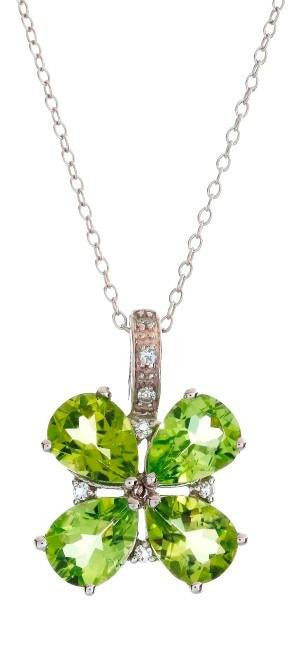 "4.35 Carat Genuine Peridot Pendant in Sterling Silver with 18"" Chain"