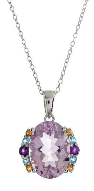 "6.00 Carat Genuine Pink Amethyst Pendant in Sterling Silver with 18"" Chain"