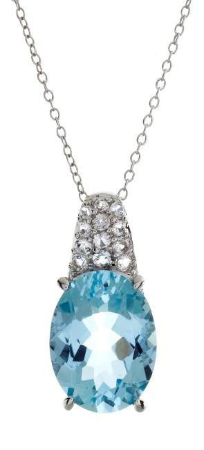 10.60 Carat Genuine Blue Topaz Pendant in Sterling Silver with Chain
