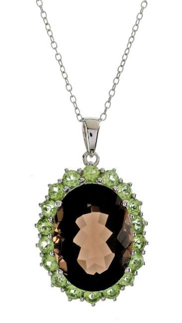 14.60 Carat Genuine Smoky Quartz & Peridot Pendant in Sterling Silver with Chain