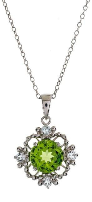 "2.60 Carat Genuine Peridot Pendant in Sterling Silver with 18"" Chain"