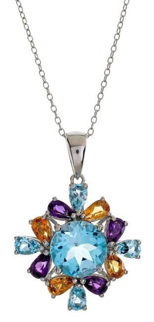 "6.60 Carat Genuine Multi-Color Gemstone Pendant in Sterling Silver with 18"" Chain"