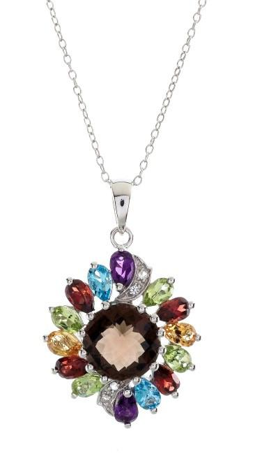 "6.75 Carat Genuine Multi-Color Gemstone Pendant in Sterling Silver with 18"" Chain"