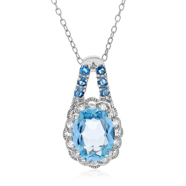 "2.65 Carat Genuine Blue Topaz Oval Pendant in Sterling Silver with 18"" Chain"