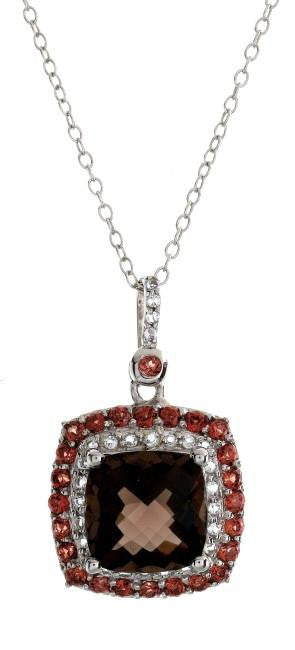 "3.50 Carat Genuine Smoky Quartz & Garnet Pendant in Sterling Silver with 18"" Chain"