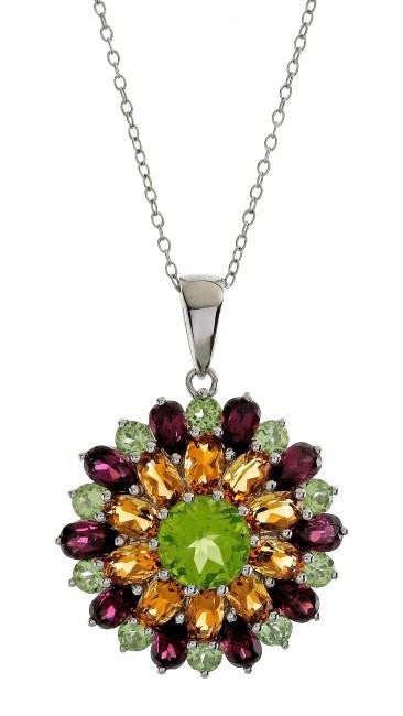 "9.00 Carat Genuine Multi-Color Gemstone Pendant in Sterling Silver with 18"" Chain"