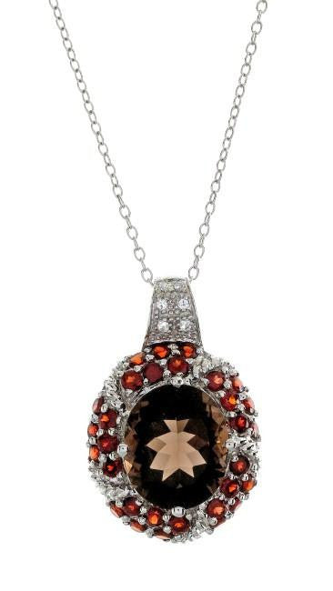 "5.35 Carat Genuine Smoky Quartz Pendant in Sterling Silver with 18"" Chain"