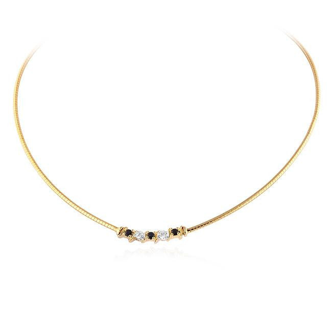 Genuine Sapphire & Diamond Omega Necklace in Yellow Gold-Plated Sterling Silver