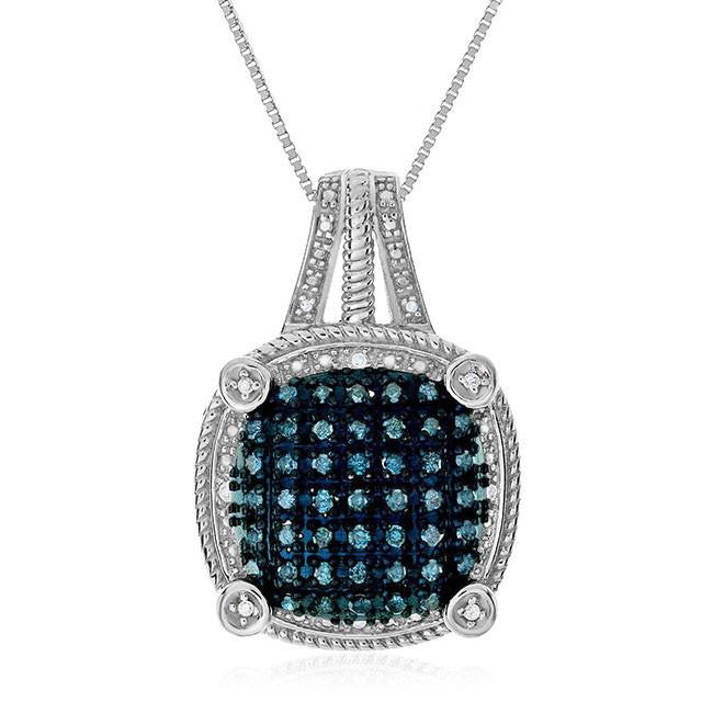 0.65 Carat Blue & White Diamond Pendant in Sterling Silver with Chain