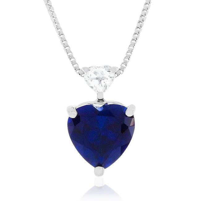 3.50 Carat tw Blue & White Sapphire Heart Pendant in Sterling Silver w/ Chain