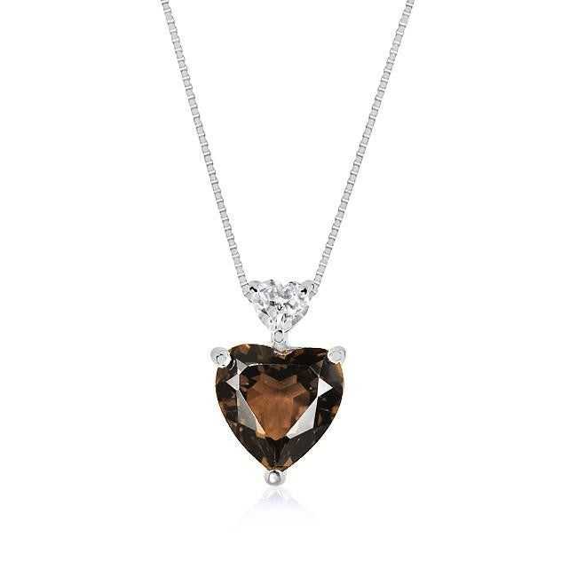 3.50 Carat tw Smoky Topaz & White Sapphire Heart Pendant in Sterling Silver w/ Chain