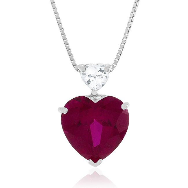 8.50 Carat tw Ruby & White Topaz Heart Pendant in Sterling Silver w/ Chain