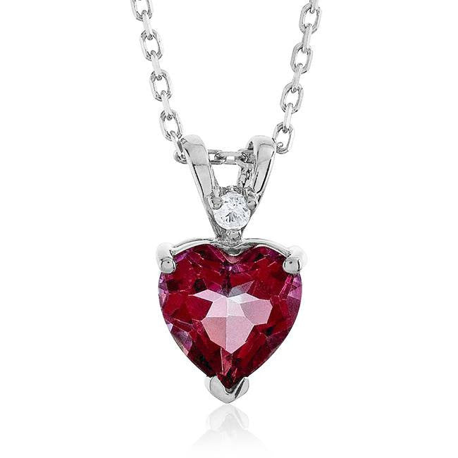 "2.05 Carat Pink Mystic Heart Pendant in Sterling Silver with 18"" Chain"