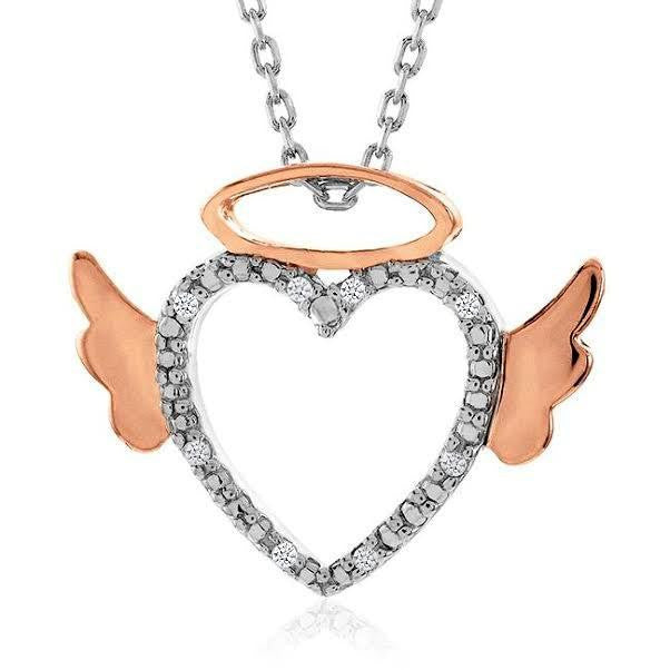 "Diamond Accented Angel Heart Pendant in Two-Tone Sterling Silver with 18"" Chain"