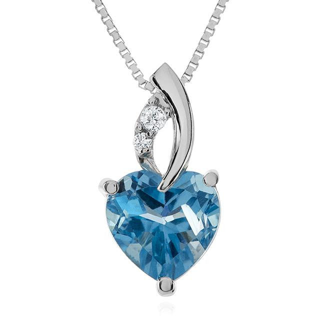 2.30 Carat Blue & White Topaz Heart Pendant in Sterling Silver with Chain