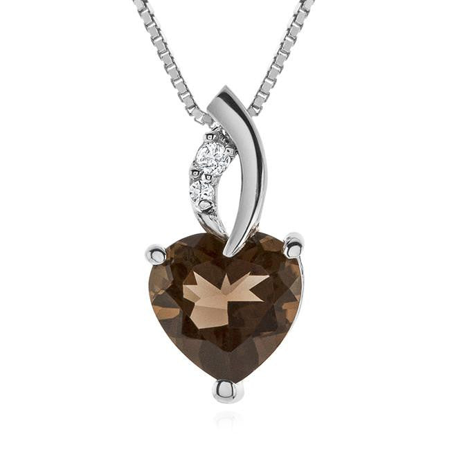 "2.30 Carat tw Smoky Quartz & White Sapphire Heart Pendant in Sterling Silver with 18"" Chain"