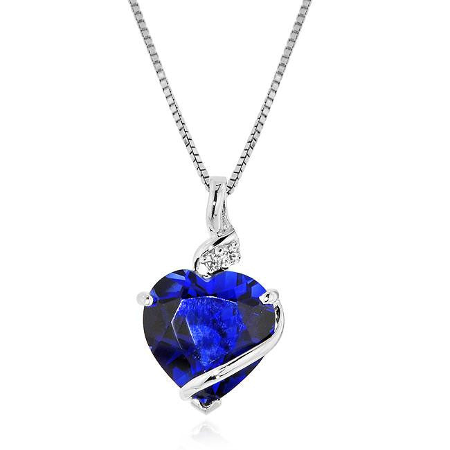 7.50 Carat tw Blue & White Sapphire Heart Pendant in Sterling Silver with  Chain