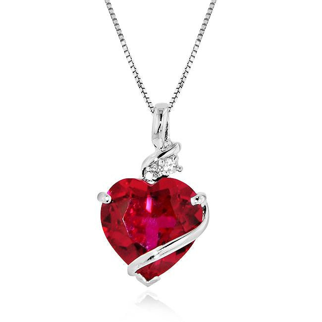 "7.50 Carat tw Ruby & White Sapphire Heart Pendant in Sterling Silver with/ 18"" Box Chain"