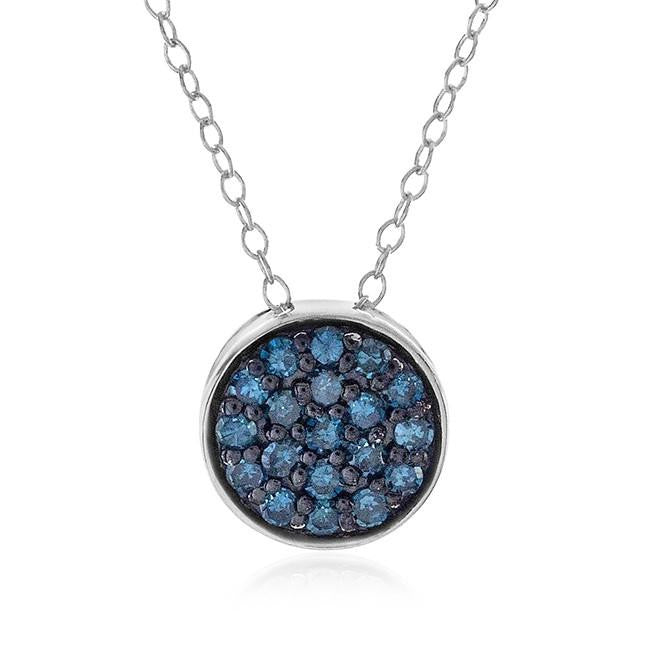 0.25 Carat Blue Diamond Cluster Pendant in Sterling Silver with Chain
