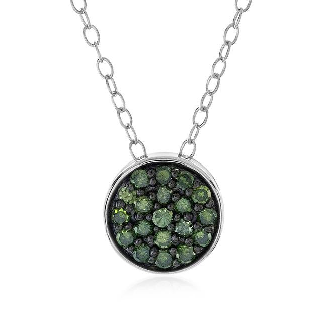 0.25 Carat Green Diamond Cluster Pendant in Sterling Silver with Chain