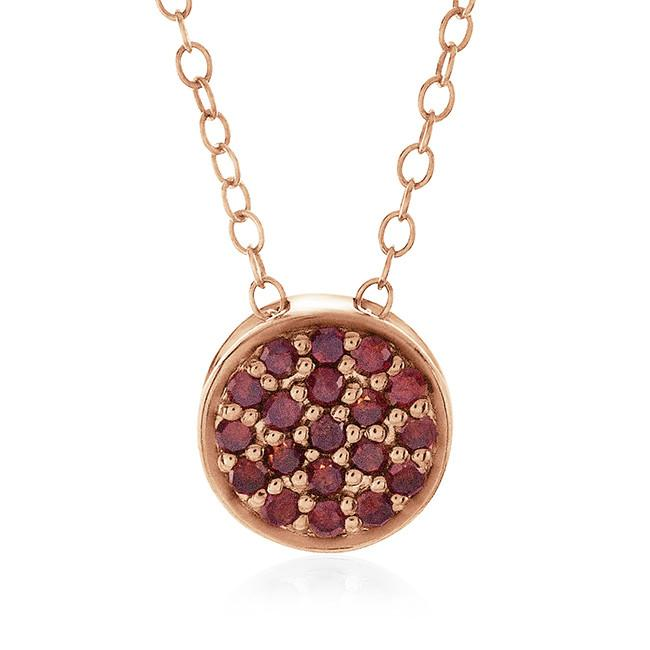 0.25 Carat Red Diamond Cluster Pendant in Rose Gold-Plated Sterling Silver with Adjustable Chain