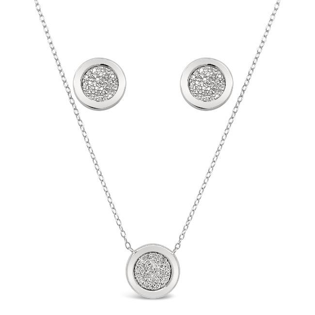 1/2 Carat Diamond Necklace and Earrings Set in Sterling Silver