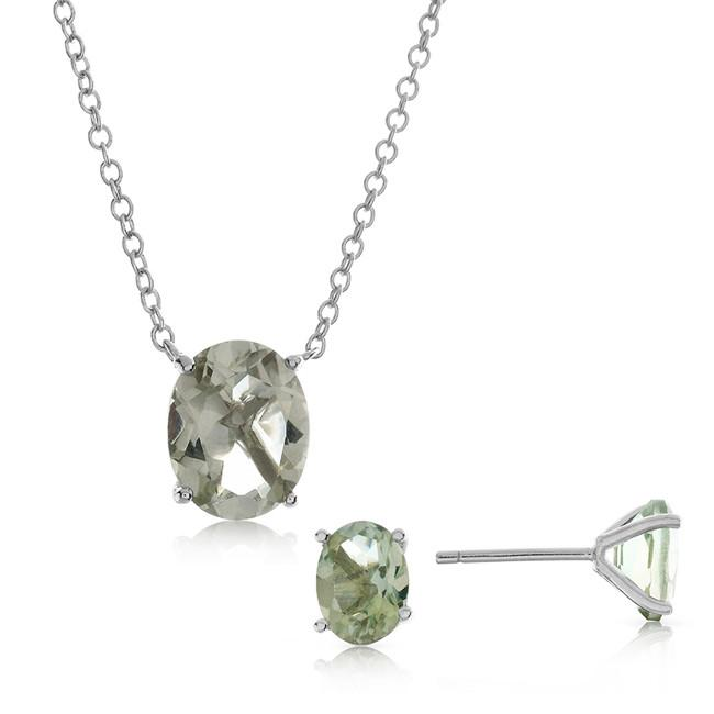 4.55 Carat Genuine Oval Green Amethyst Pendant & Earring Set in Sterling Silver